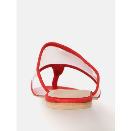 DressBerry Red & Transparent Solid Open Toe Flats