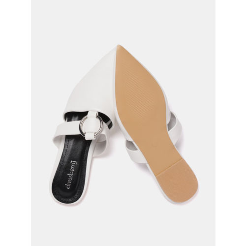 DressBerry Women White Solid Mules