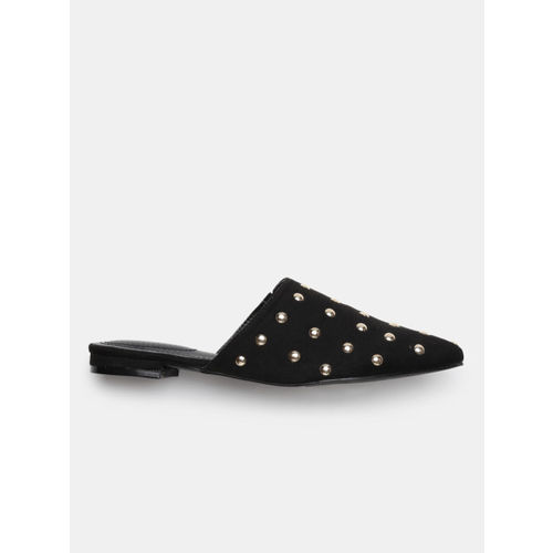DressBerry Women Black & Gold-Toned Studded Mules