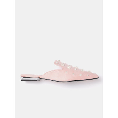 DressBerry Women Pink & Off-White Embellished Mules