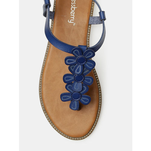 DressBerry Women Blue Solid T-Strap Flats