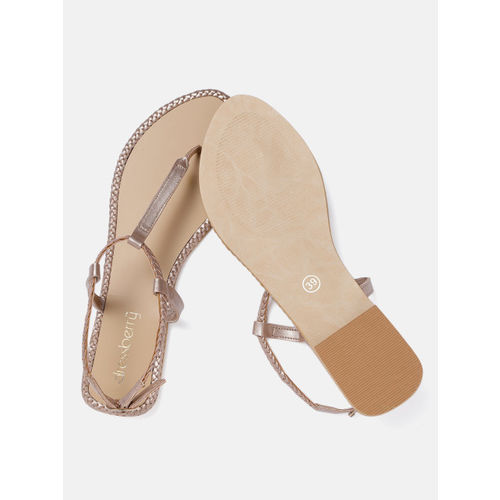 DressBerry Women Rose Gold-Toned Solid T-Strap Flats