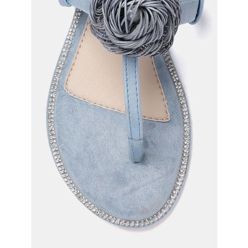 DressBerry Blue Solid T-Strap Flats