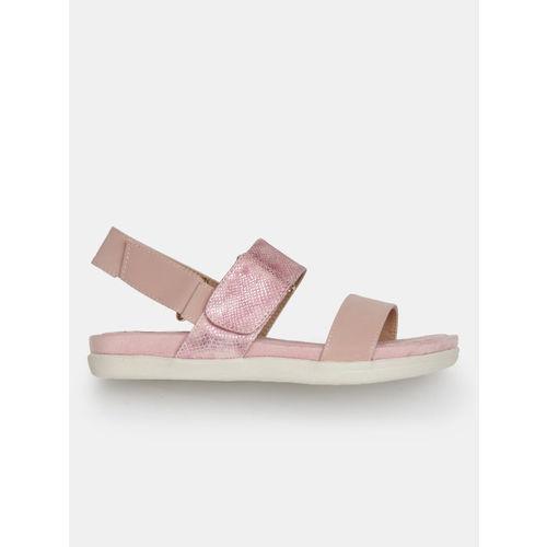 DressBerry Comfort Women Dusty Pink Snakeskin Texture Open Toe Flats