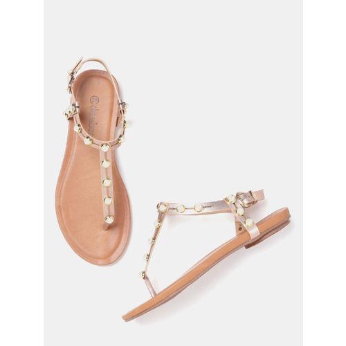 DressBerry Women Rose Gold Embellished T-Strap Flats