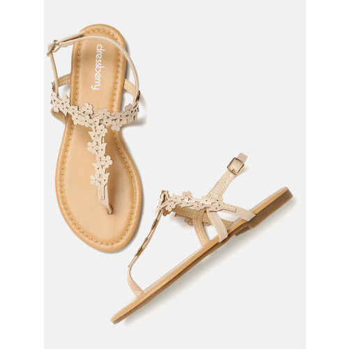 DressBerry Beige Synthetic T-Strap Flats