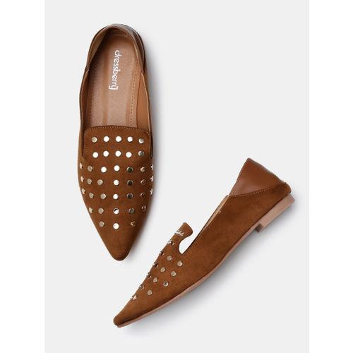 DressBerry Women Camel Brown Studded Flat Shoes