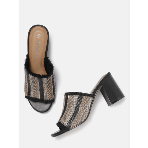 DressBerry Women Black Striped Heeled Mules