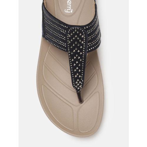 DressBerry Women Blue Solid Embellished Sandals