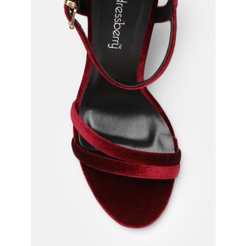 DressBerry Women Burgundy Solid Heels