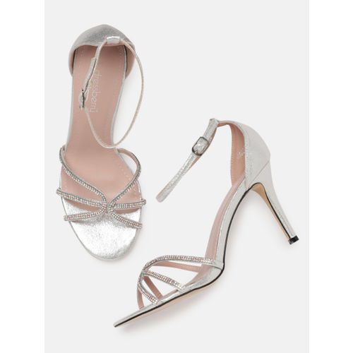 DressBerry Women Silver-Toned Embellished Heeled Sandals