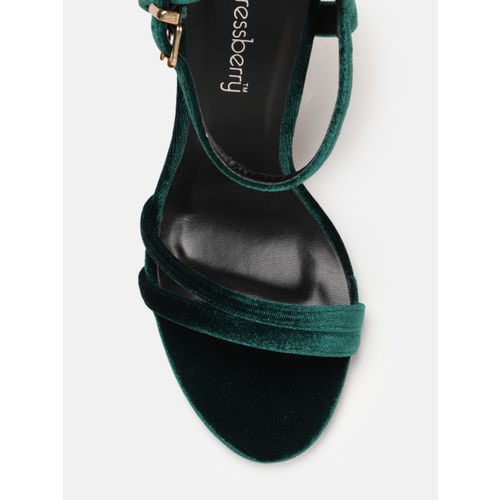 DressBerry Women Green Solid Stiletto Sandals