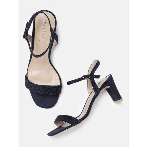 DressBerry Women Navy Blue Embellished Heeled Sandals