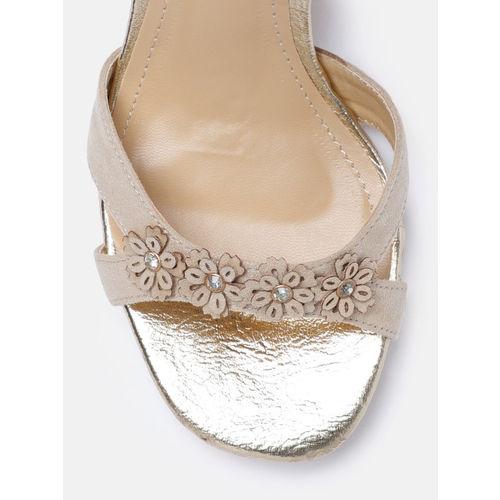 DressBerry  Beige Embellished Sandals
