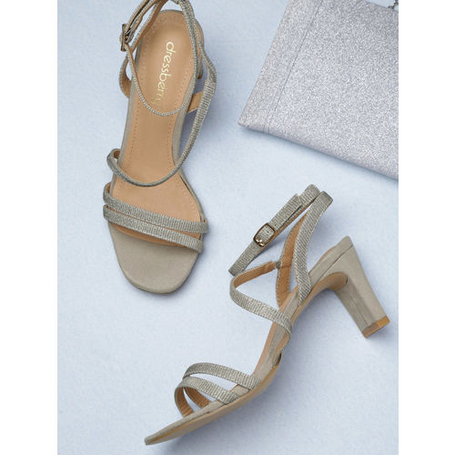 DressBerry Women Silver-Toned Solid Heels