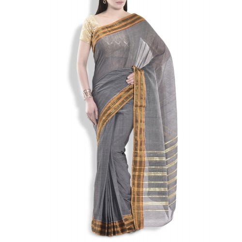 The Boardroom Grey Cotton Saree With Brocade Border