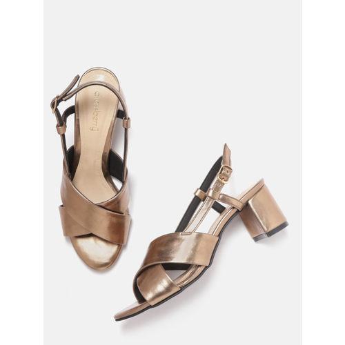 DressBerry Women Bronze-Toned Solid Block Heels