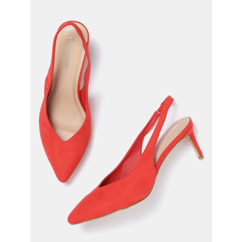 DressBerry Women Coral Red Solid Pumps