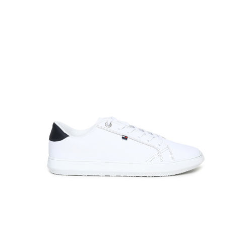 Tommy Hilfiger Men White Leather Sneakers