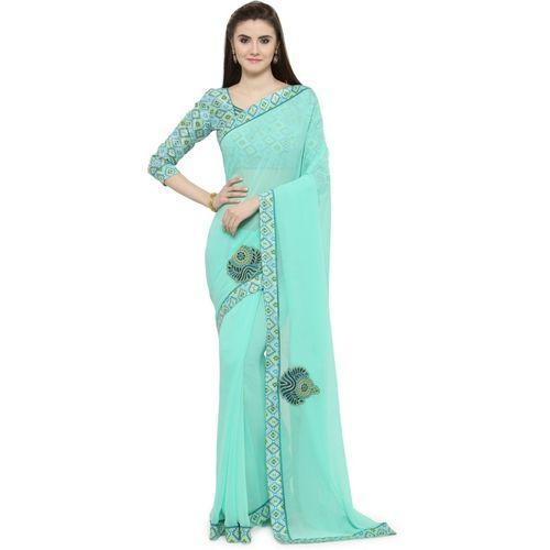 Shaily Self Design Fashion Poly Georgette Saree(Blue)