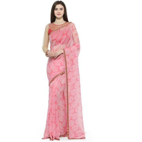 Shaily Printed Fashion Cotton Blend Saree(Pink)