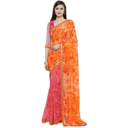 Shaily Embellished Fashion Poly Georgette Saree(Pink)