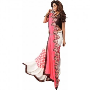 Shaily Printed Chanderi Poly Georgette Saree