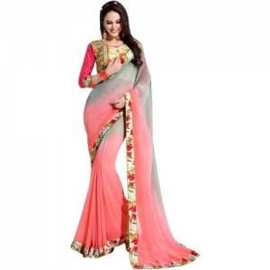 Shaily Printed Fashion Poly Georgette Saree(Pink)