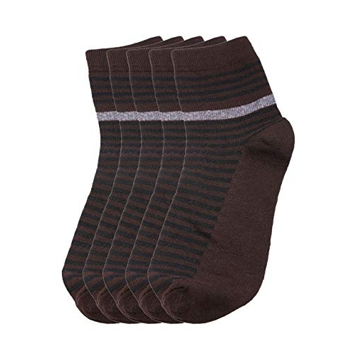 Tossido Combed Cotton Ankle Brown & Black Pack of 5 Socks (Anklepackof5_91)