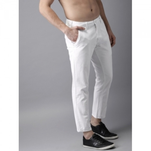 Moda Rapido White Cotton Regular Fit Solid Cropped Chinos