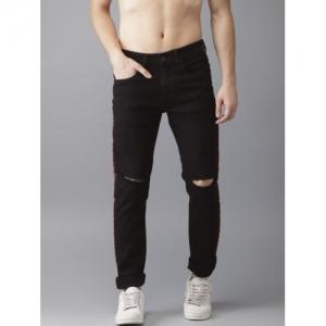 Moda Rapido Black Denim Slim Fit Ripped Stretchable Jeans