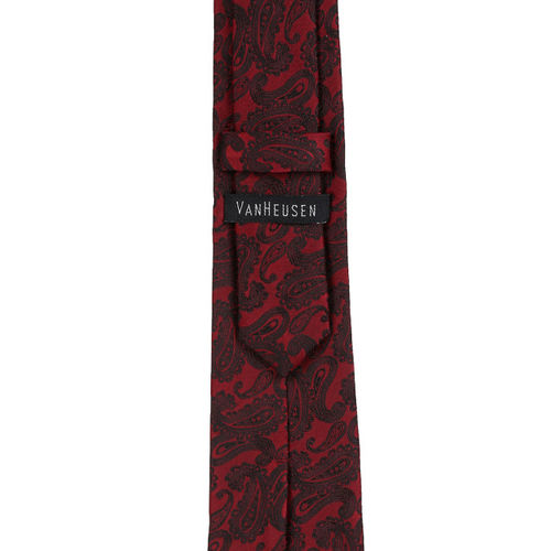 Van Heusen Maroon & Black Textured Microfiber Tie