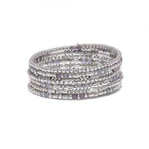 Accessorize Silver-Toned Beaded Multistrand Bracelet