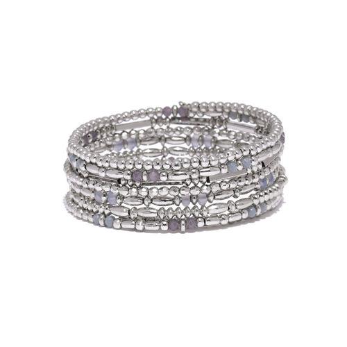 Accessorize Silver-Toned Beaded Multistrand Bracelet
