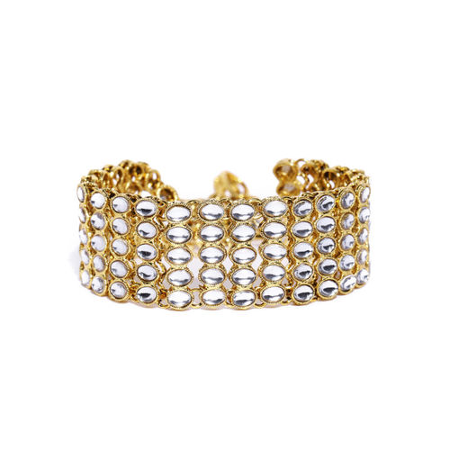 Zaveri Pearls Gold-Toned Kundan Cuff Bracelet