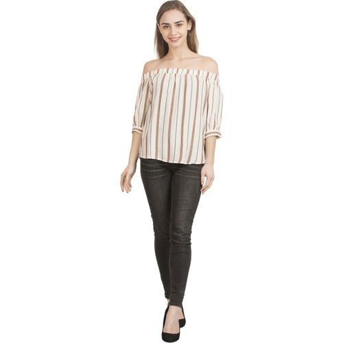 AnEpisode Casual 3/4 Sleeve Striped Women Beige Top