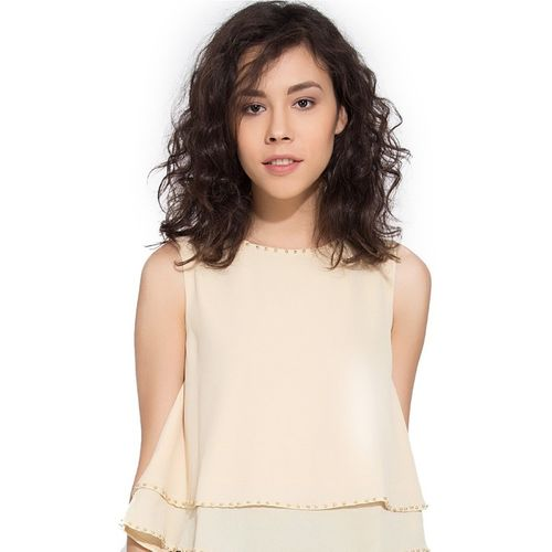 Go India Store Casual Sleeveless Solid Women Beige Top