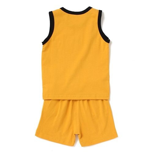 Awabox Dog Printed Sleeveless Tee & Shorts Set - Yellow