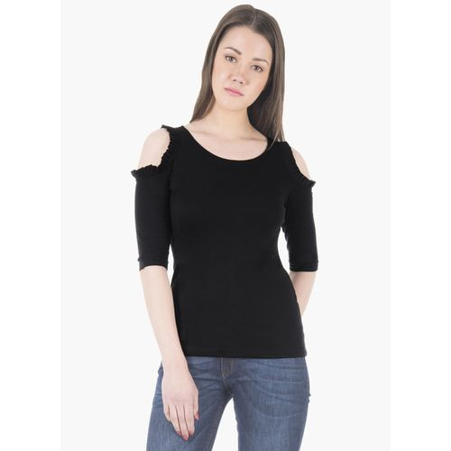 FabAlley Casual Cold Shoulder Solid Women Black Top