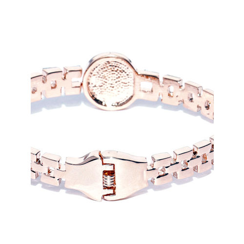 Jewels Galaxy Silver-Toned Rose Gold-Plated Stone-Studded Handcrafted Cuff Bracelet