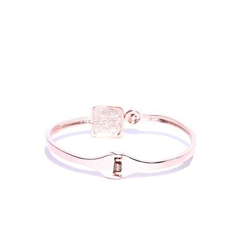 Jewels Galaxy Black Rose Gold-Plated Handcrafted Stone-Studded Cuff Bracelet