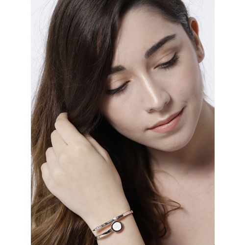 Jewels Galaxy Off-White Rose Gold-Plated Handcrafted Stone-Studded Cuff Bracelet