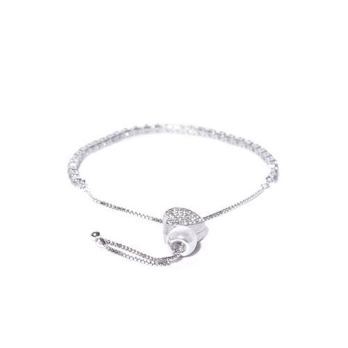 Jewels Galaxy Silver-Plated Stone-Studded Bracelet