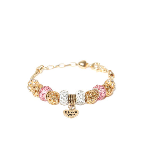 Jewels Galaxy White & Pink Gold-Plated Handcrafted Stone-Studded Charm Bracelet