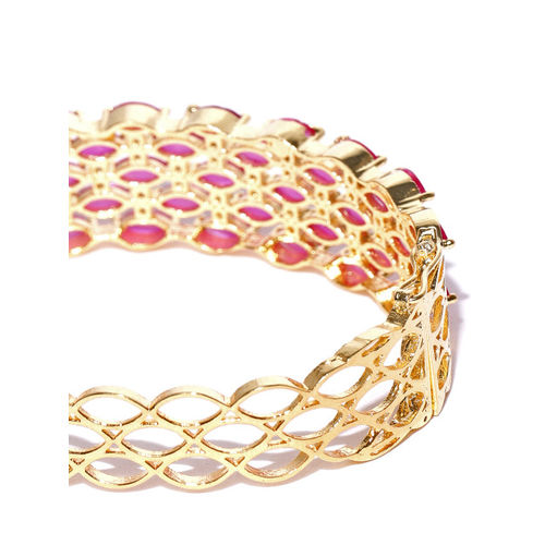 Jewels Galaxy Pink Gold-Plated Stone-Studded Bangle-Style Bracelet