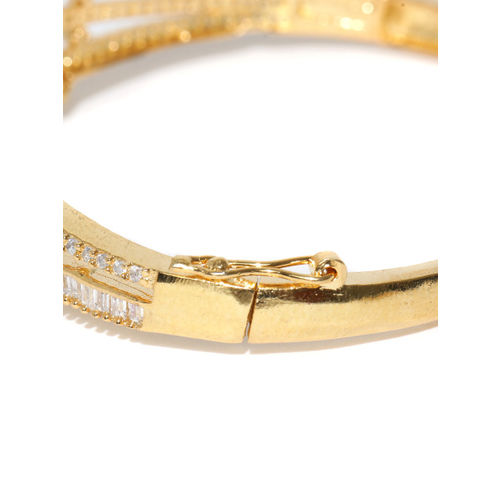 Jewels Galaxy Peach-Coloured Gold-Plated Handcrafted Stone-Studded Bangle-Style Bracelet