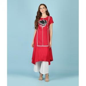 W Printed Red Asymmetric Cotton Viscose Blend Casual Kurti