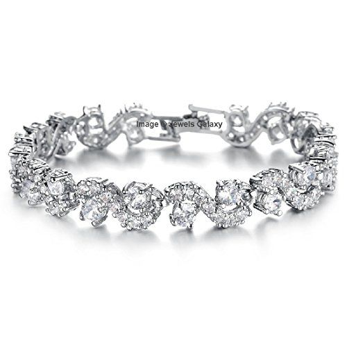 Jewels Galaxy Rich Royal Blue Crystal High Grade Chain Bracelet for Women