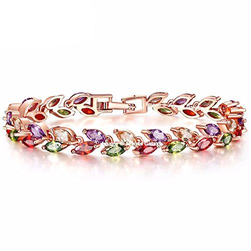Jewels Galaxy Leafs-in-Tiara Swiss Cubic Zirconia 18K Gold Plated Diamond Strand Bracelet for Girls and Women