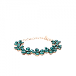 YouBella Green Gold-Plated Stone-Studded Floral Shaped Link Bracelet